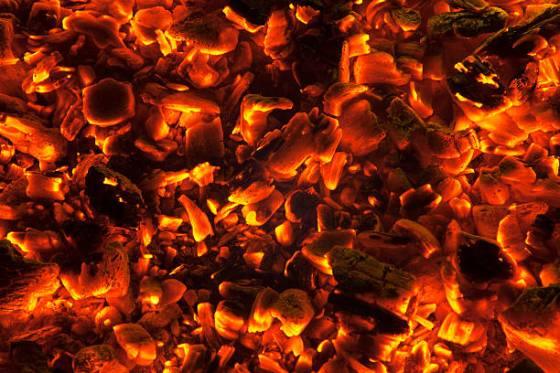 wood embers burning