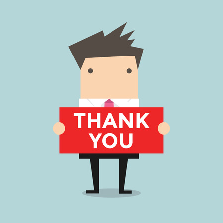 50968019 - businessman hands holding thank you sign vector