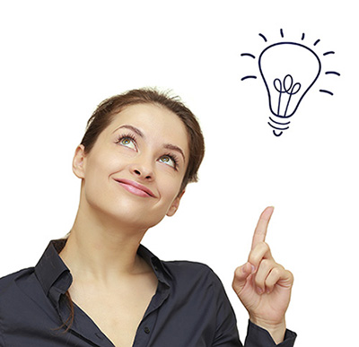 Beautiful business woman with idea light bulb above hand isolate